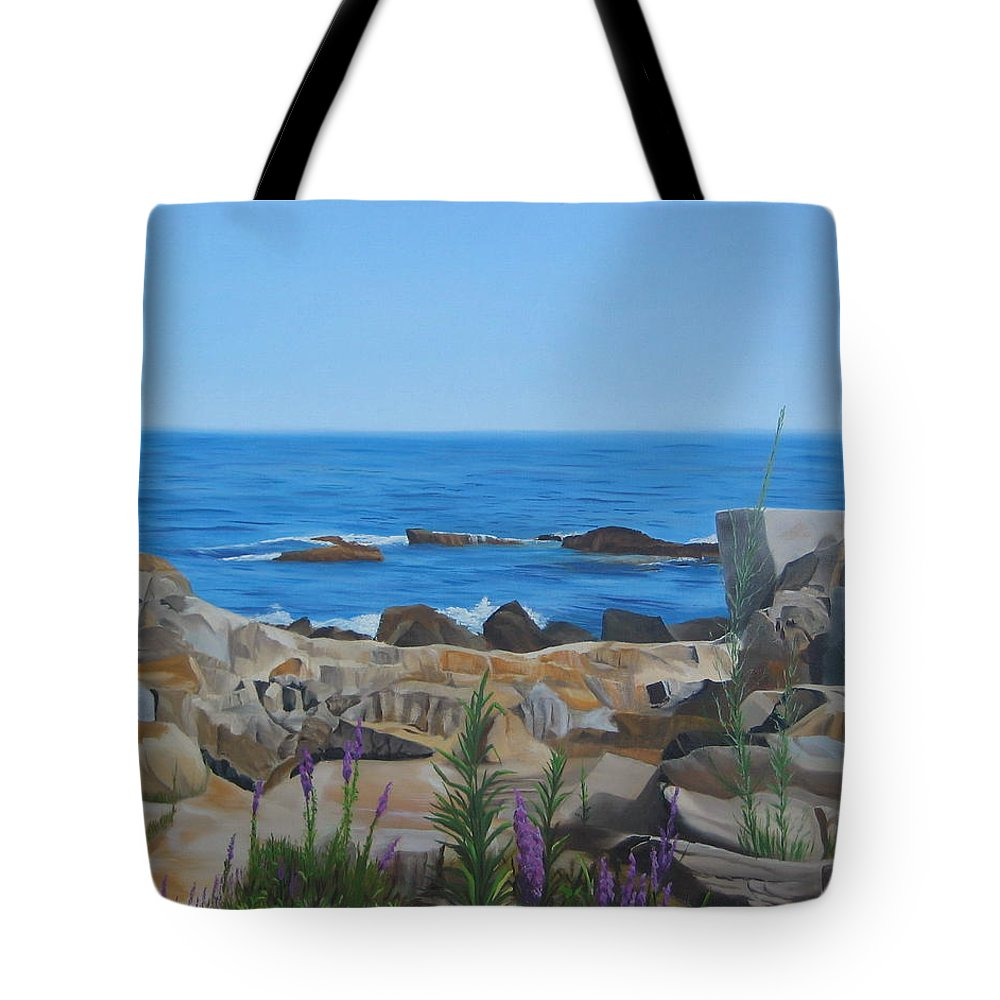 Seascape Tote Bag featuring the painting Bass Rocks Gloucester by Lea Novak
