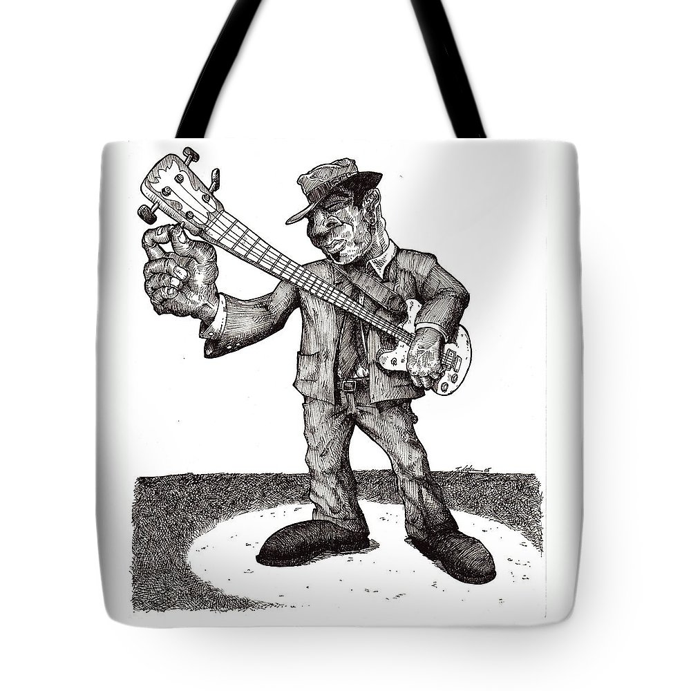 Blues Tote Bag featuring the drawing Bass by Tobey Anderson