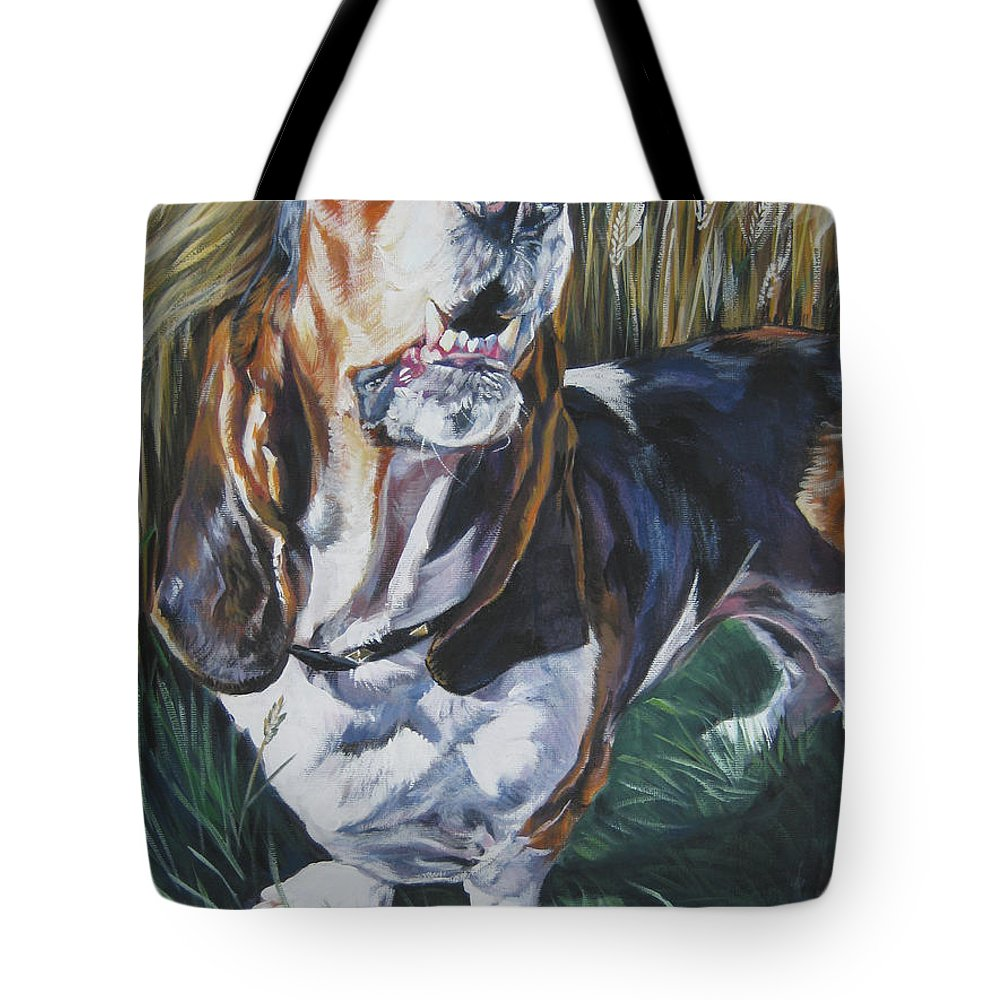 Basset Hound Tote Bag featuring the painting Basset Hound In Wheat by Lee Ann Shepard