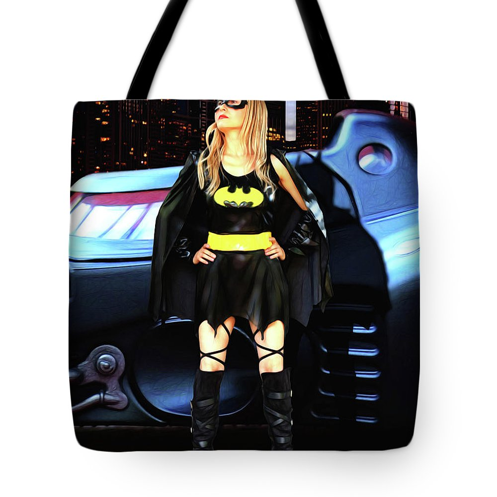 Bat Girl Tote Bag featuring the photograph Bat Gal In The City by Jon Volden