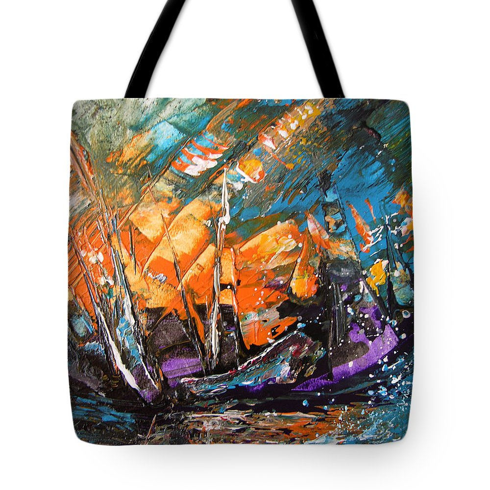 Acrylics Tote Bag featuring the painting Bataille Navale by Miki De Goodaboom