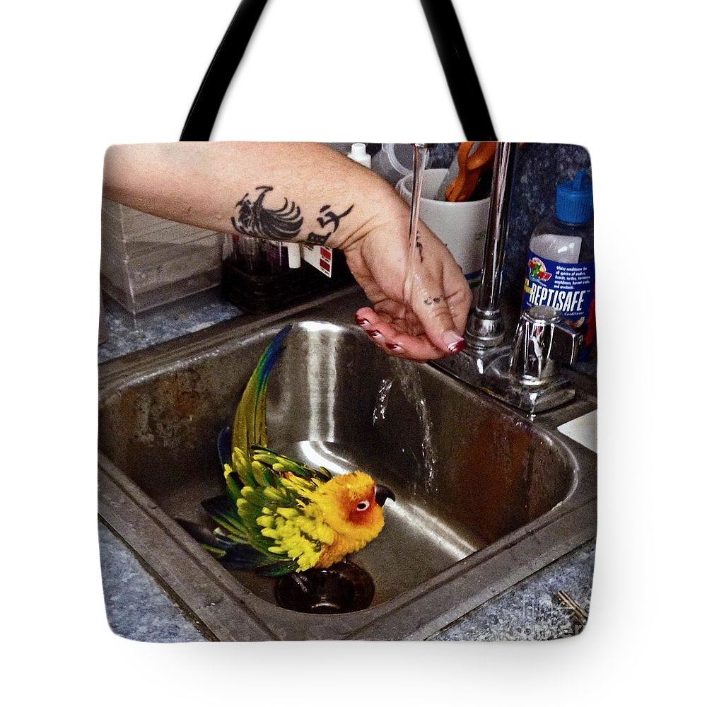Parrot Tote Bag featuring the photograph Bath Time by Catherine Melvin