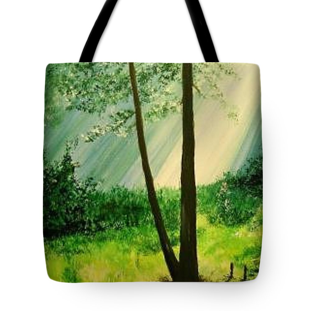 Light Tote Bag featuring the painting Bathed In Light by Lizzy Forrester