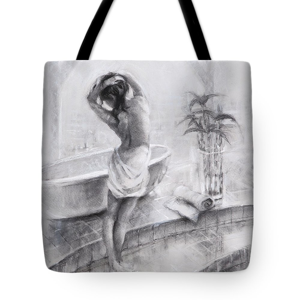 Bath Tote Bag featuring the painting Bathed In Light by Steve Henderson