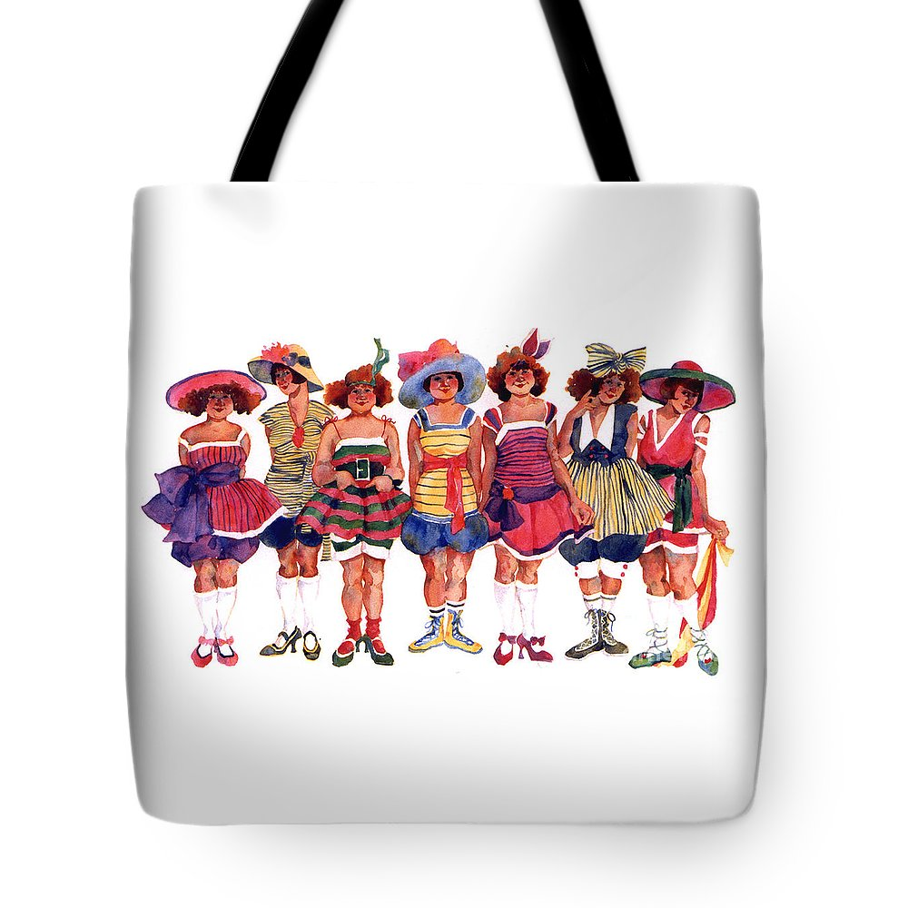 Bathers Tote Bag featuring the painting Bathing Beauties by Sherri Crabtree