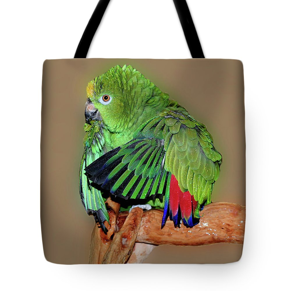 Animal Tote Bag featuring the photograph Bathing Beauty Amazon by Smilin Eyes Treasures