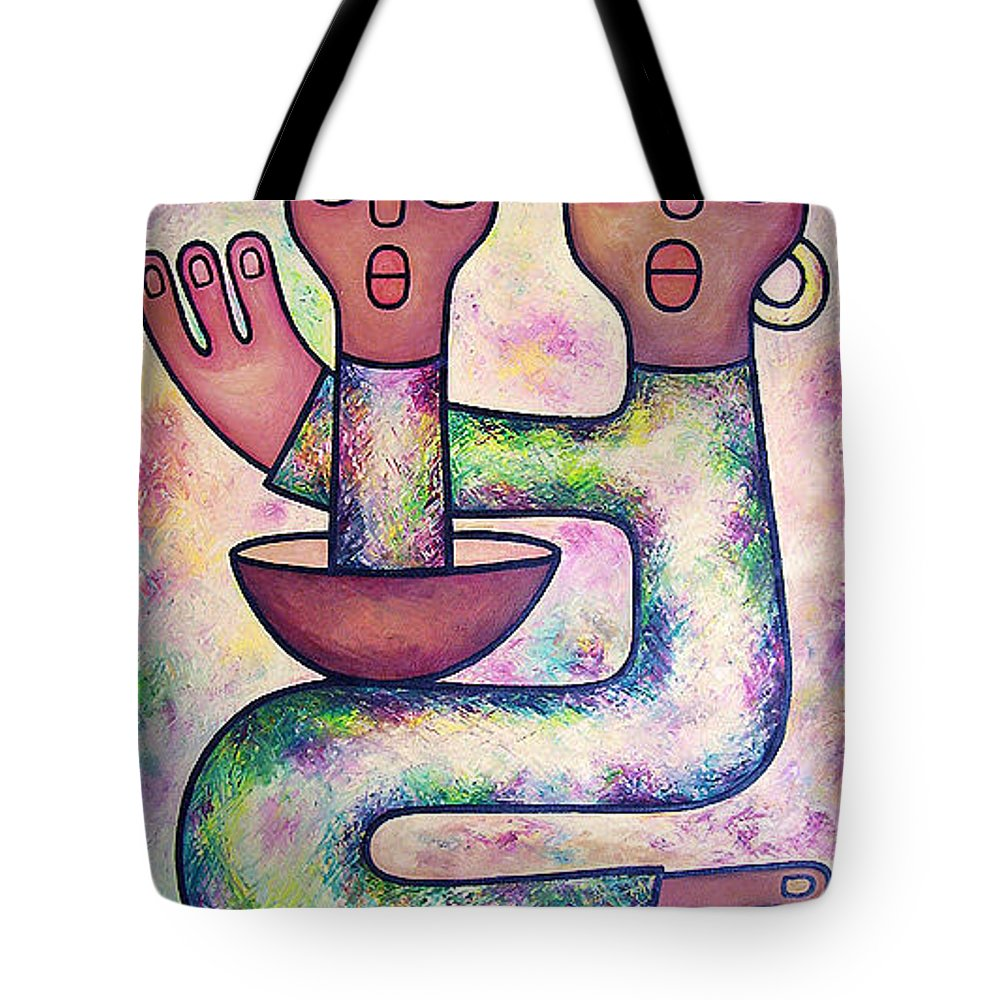 Child Care Tote Bag featuring the painting Bathing Our Child by Elisha Ongere