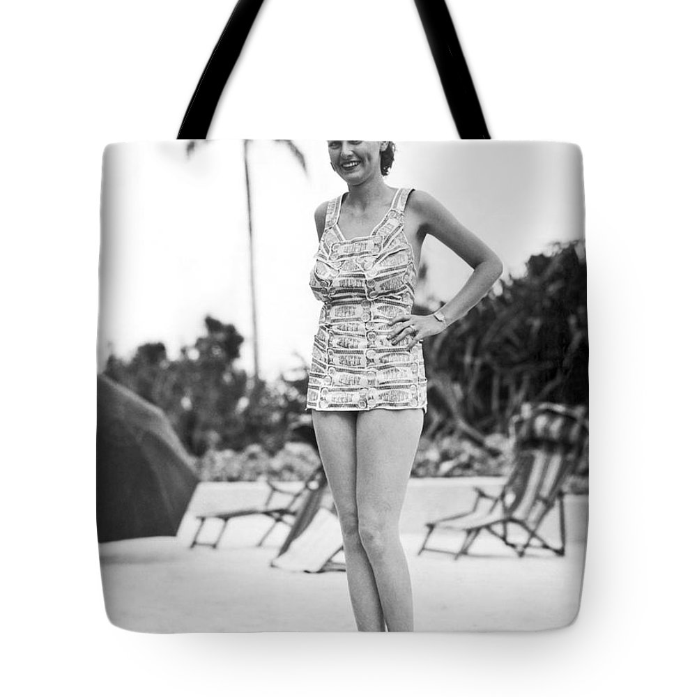 1 Person Tote Bag featuring the photograph Bathing Suit Made Of Currency by Underwood Archives