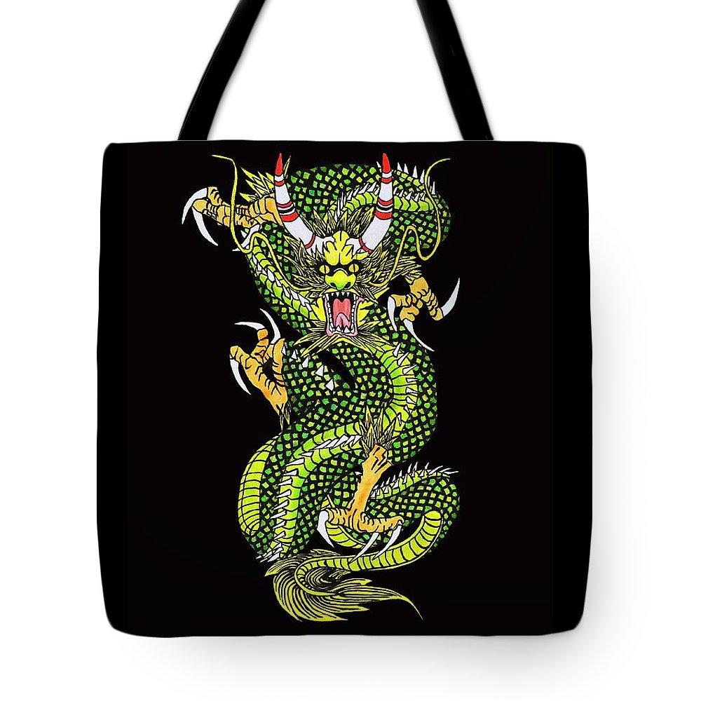Dragon Tote Bag featuring the digital art Battle Dragon by Alan Morrison