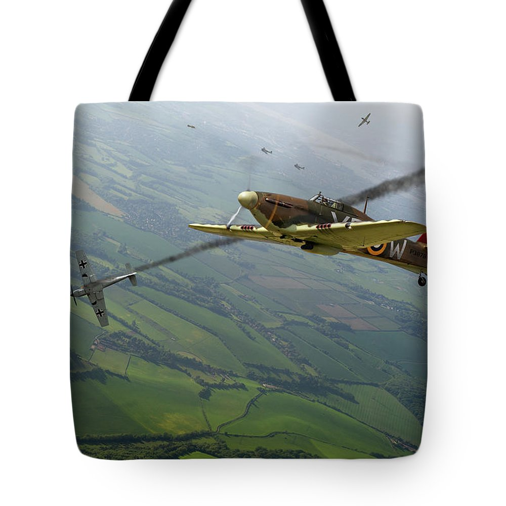 Hurricane Tote Bag featuring the photograph Battle Of Britain Dogfight by Gary Eason