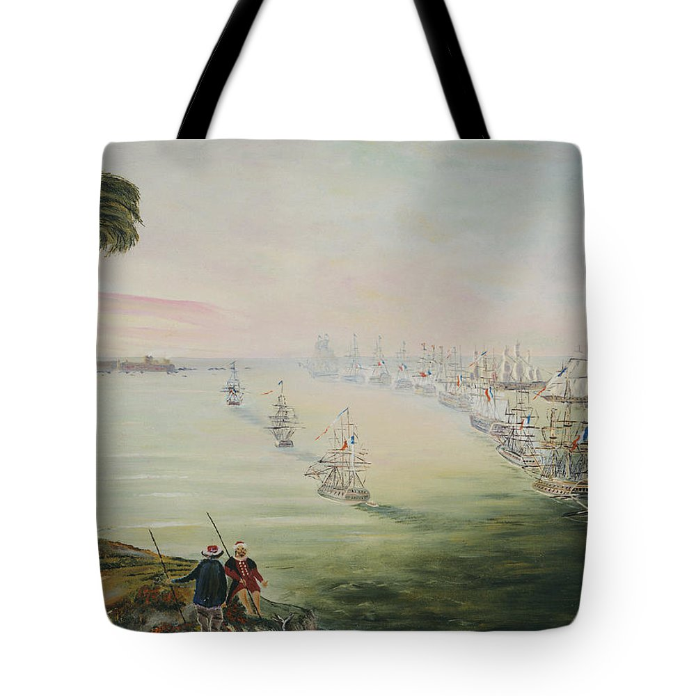 Sea Battle Tote Bag featuring the painting Battle Of The Nile by Richard Barham