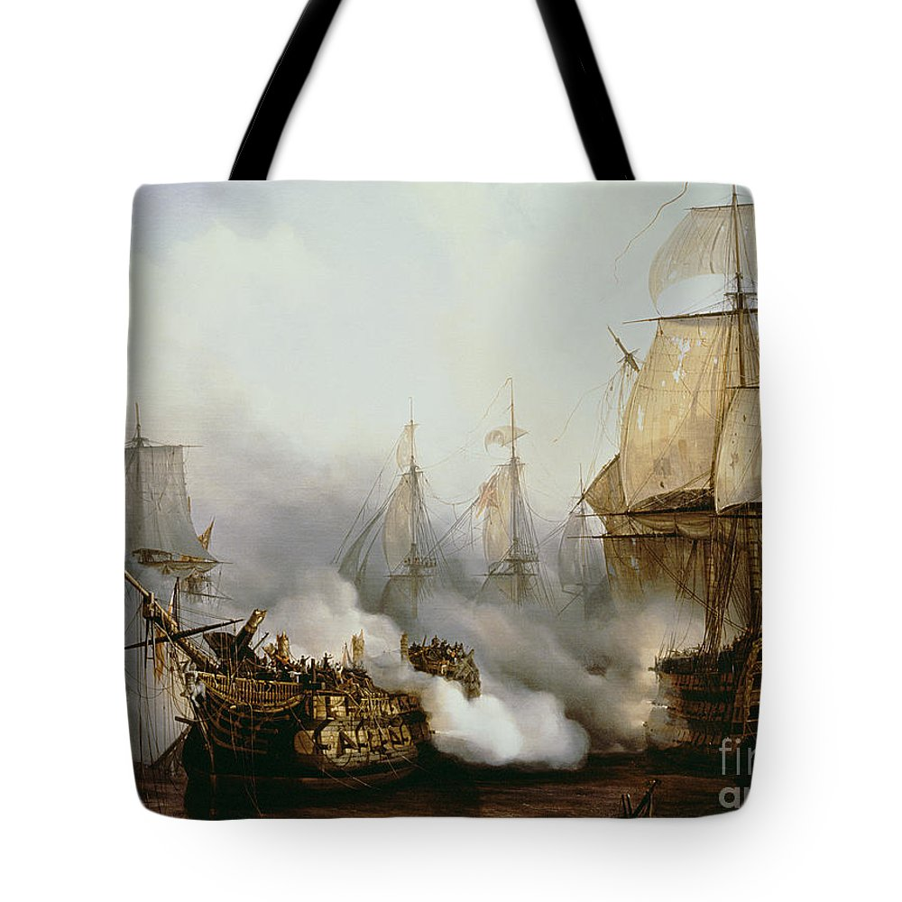 Battle Of Trafalgar By Louis Philippe Crepin Tote Bag featuring the painting Battle of Trafalgar by Louis Philippe Crepin