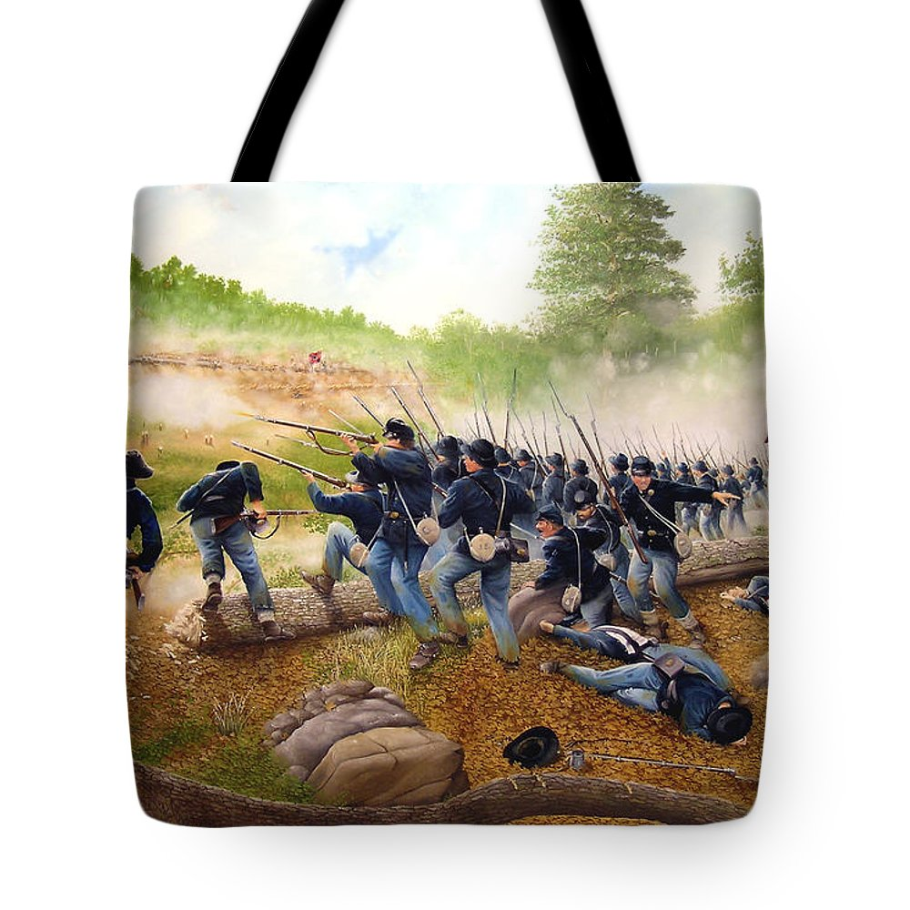 Civil War Tote Bag featuring the painting Battle Of Utoy Creek by Marc Stewart