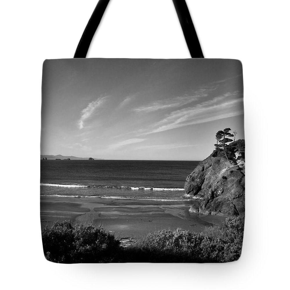B&w Tote Bag featuring the photograph Battle Rock Beach Oregon by Lee Santa