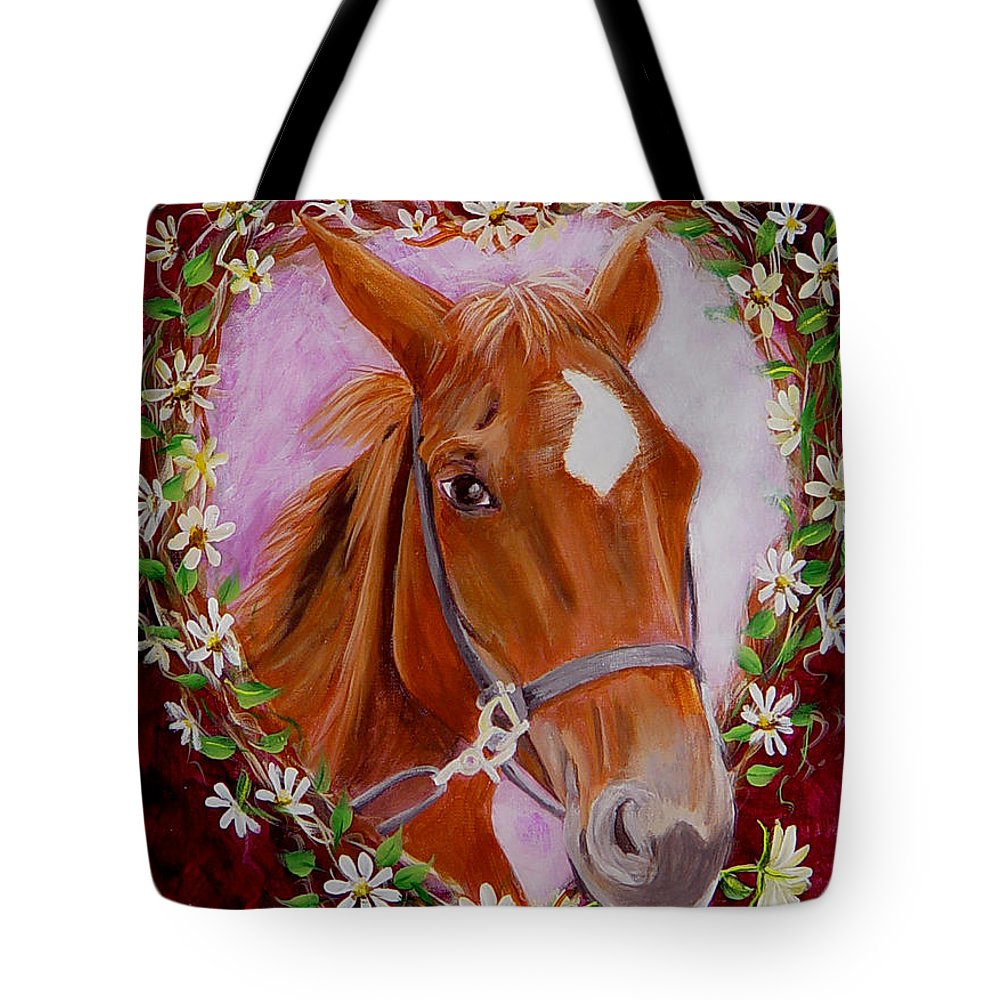 Horse Tote Bag featuring the painting Batuque by Quwatha Valentine