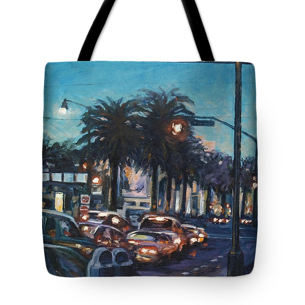 City Scape Tote Bag featuring the painting Bay Bridge by Rick Nederlof