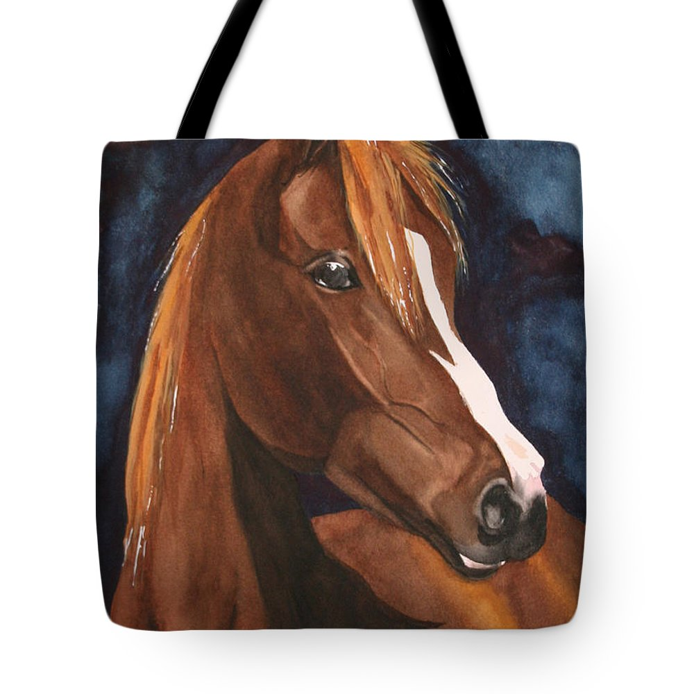 Horse Tote Bag featuring the painting Bay On Blue 2 by Jean Blackmer