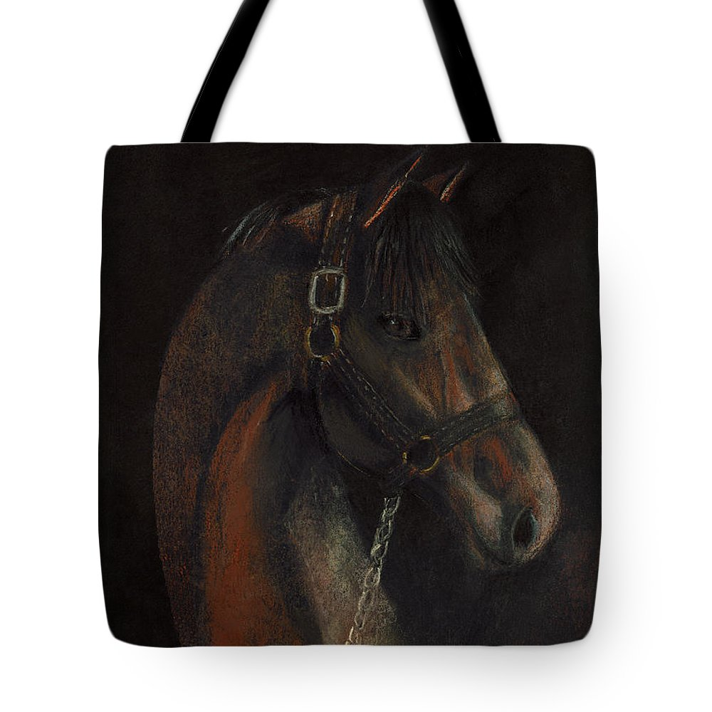 Horse Tote Bag featuring the pastel Bay Thoroughbred by Arline Wagner