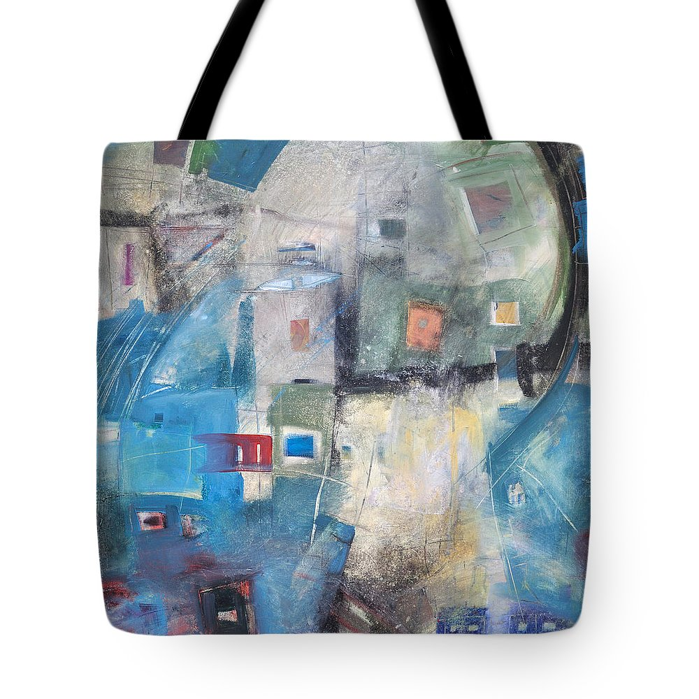 Abstract Tote Bag featuring the painting Bayer Works Wonders by Tim Nyberg