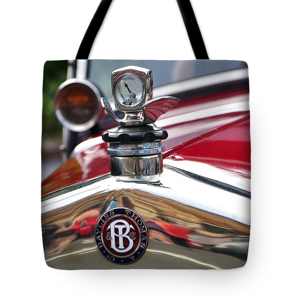 Photography Tote Bag featuring the photograph Bayliss Thomas Badge And Hood Ornament by Kaye Menner