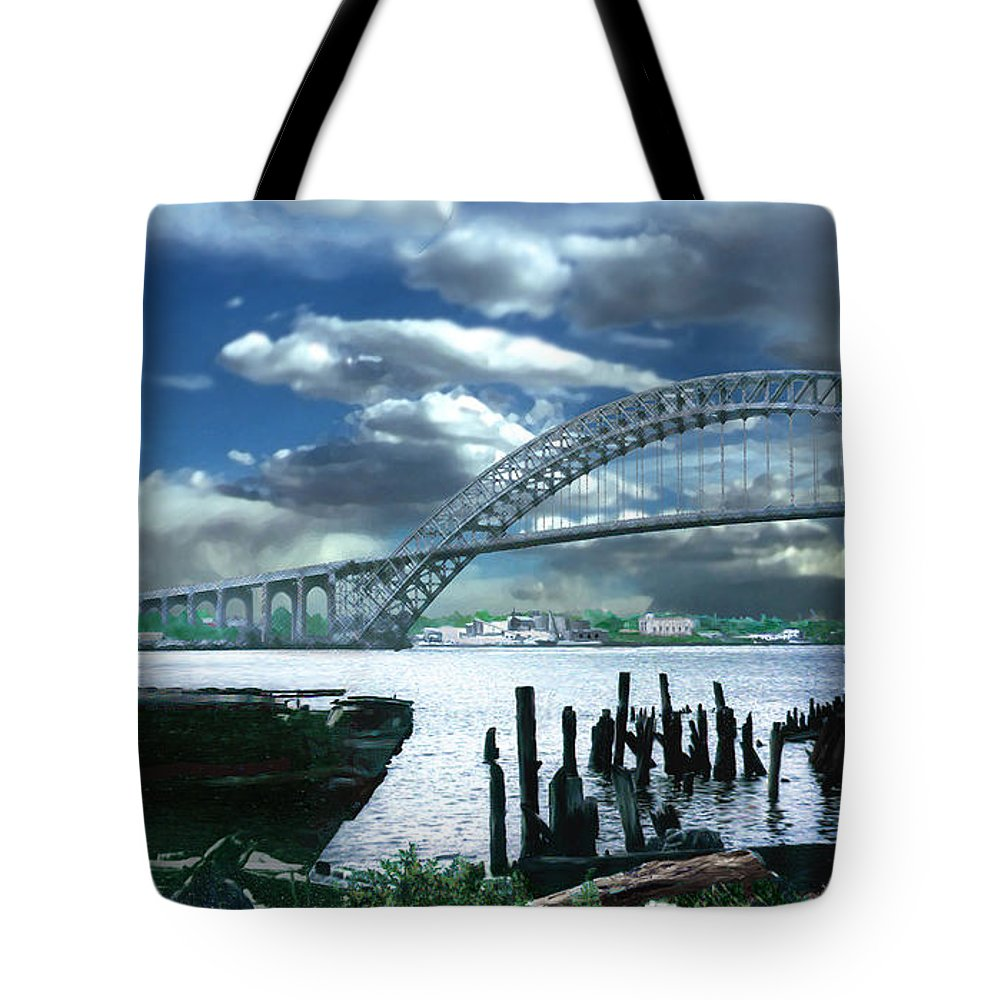 Seascape Tote Bag featuring the photograph Bayonne Bridge by Steve Karol