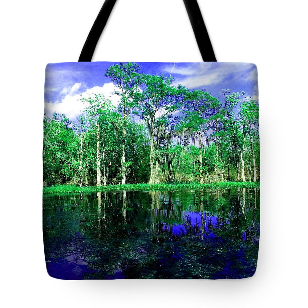 Bayou Tote Bag featuring the photograph Bayou Reflections by Gina Welch