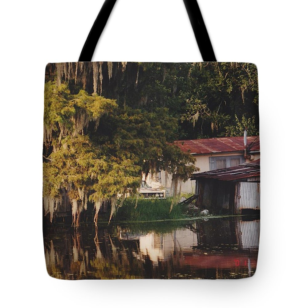 Bayou Tote Bag featuring the photograph Bayou Shack by Michelle Powell