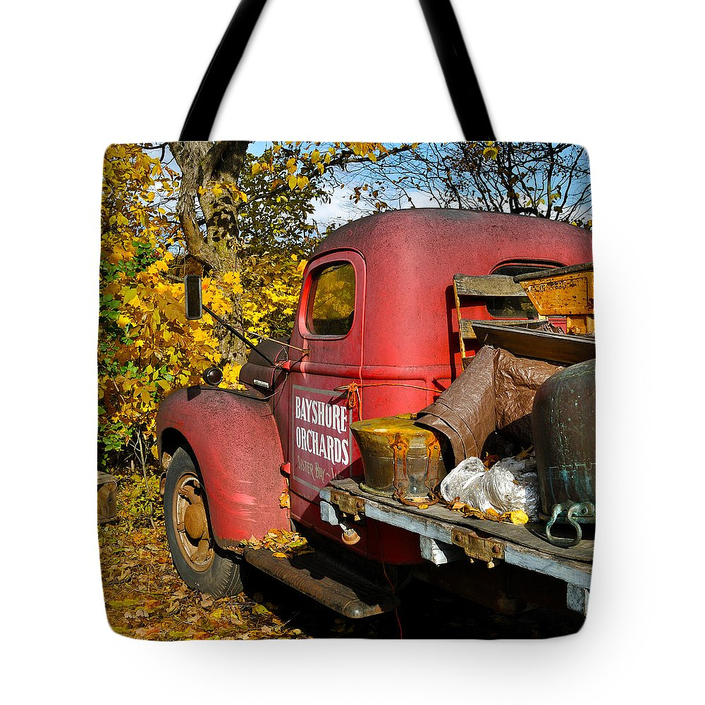 Truck Tote Bag featuring the photograph Bayshore Orchards by Tim Nyberg