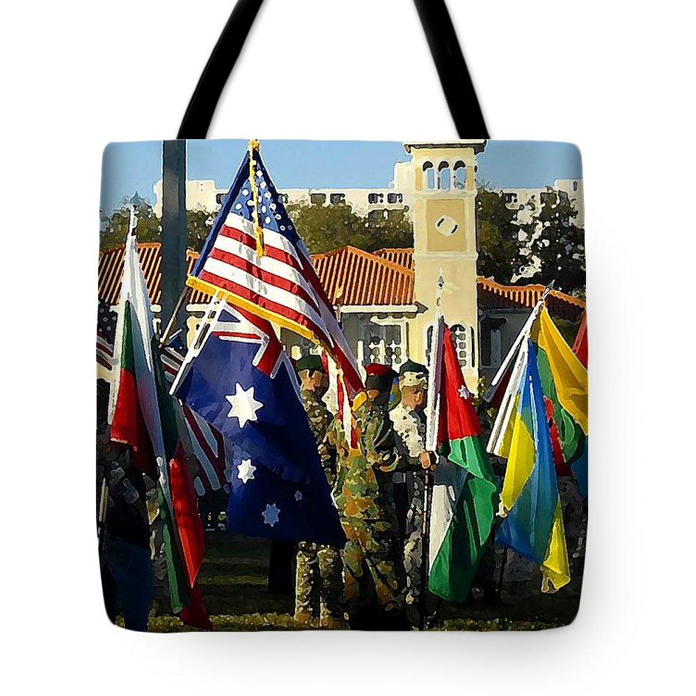 Bayshore Tote Bag featuring the photograph Bayshore Patriots by David Lee Thompson