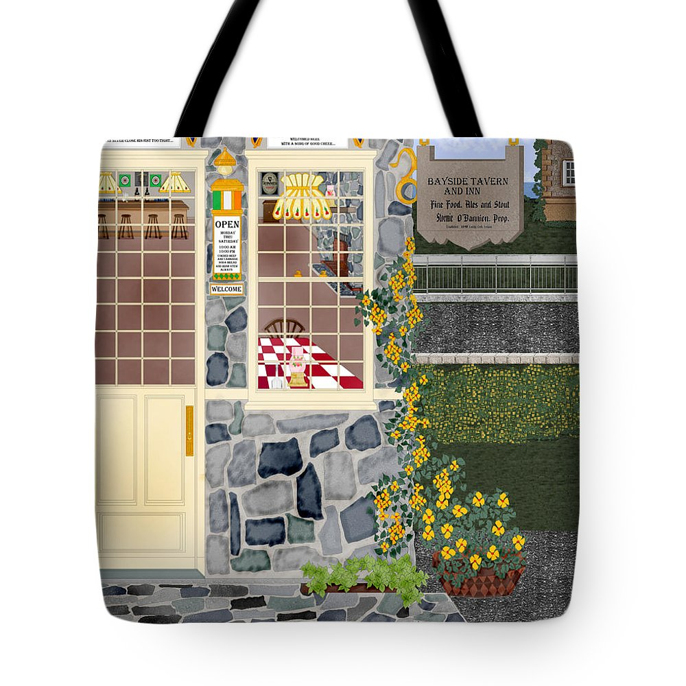 Quaint Inn Tote Bag featuring the painting Bayside Inn And Tavern In Ireland by Anne Norskog