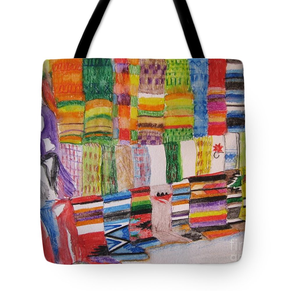 Bright Colors Tote Bag featuring the painting Bazaar Sabado - Gifted by Judith Espinoza