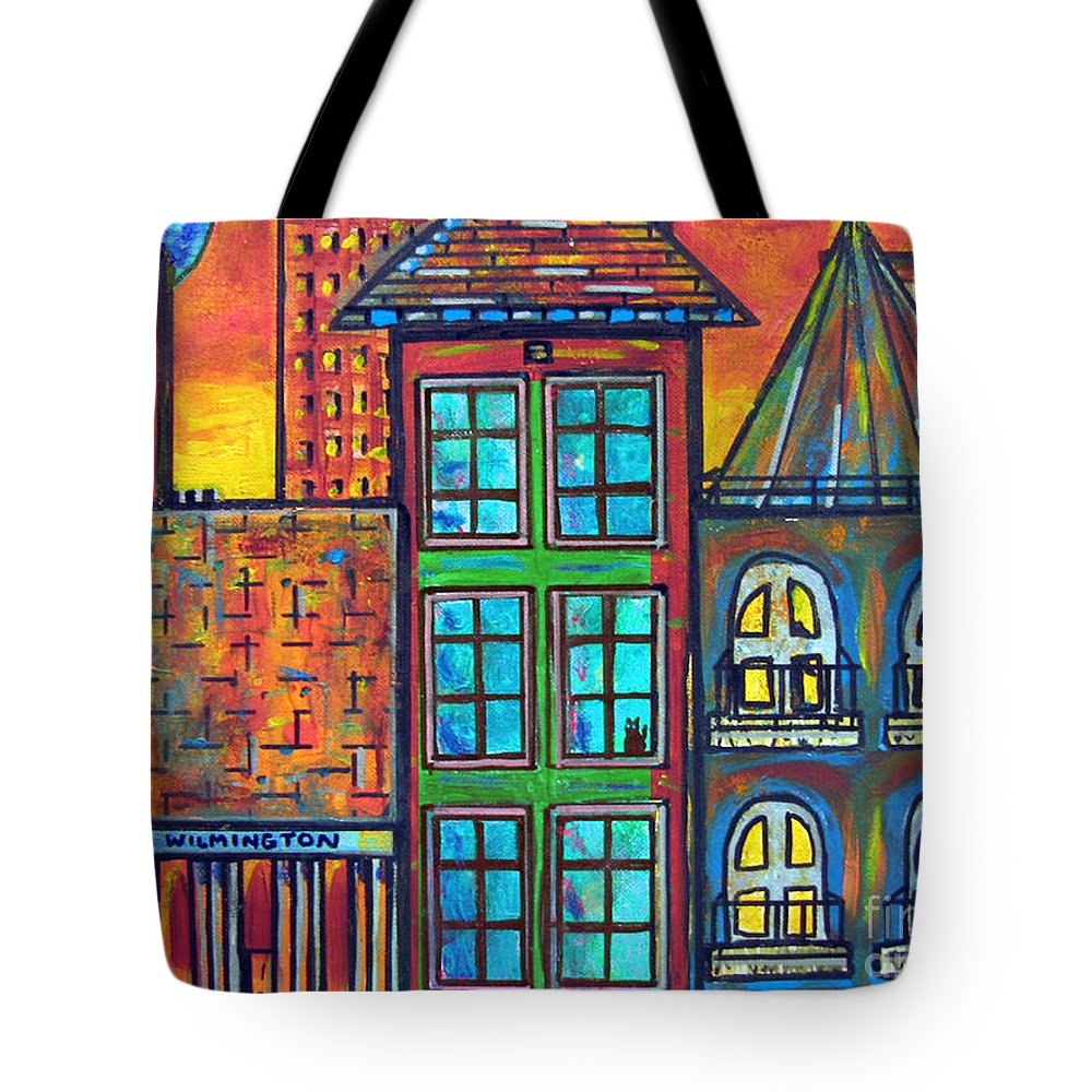 City Tote Bag featuring the painting Be Home Soon - Blue Moon by Susan Hendrich