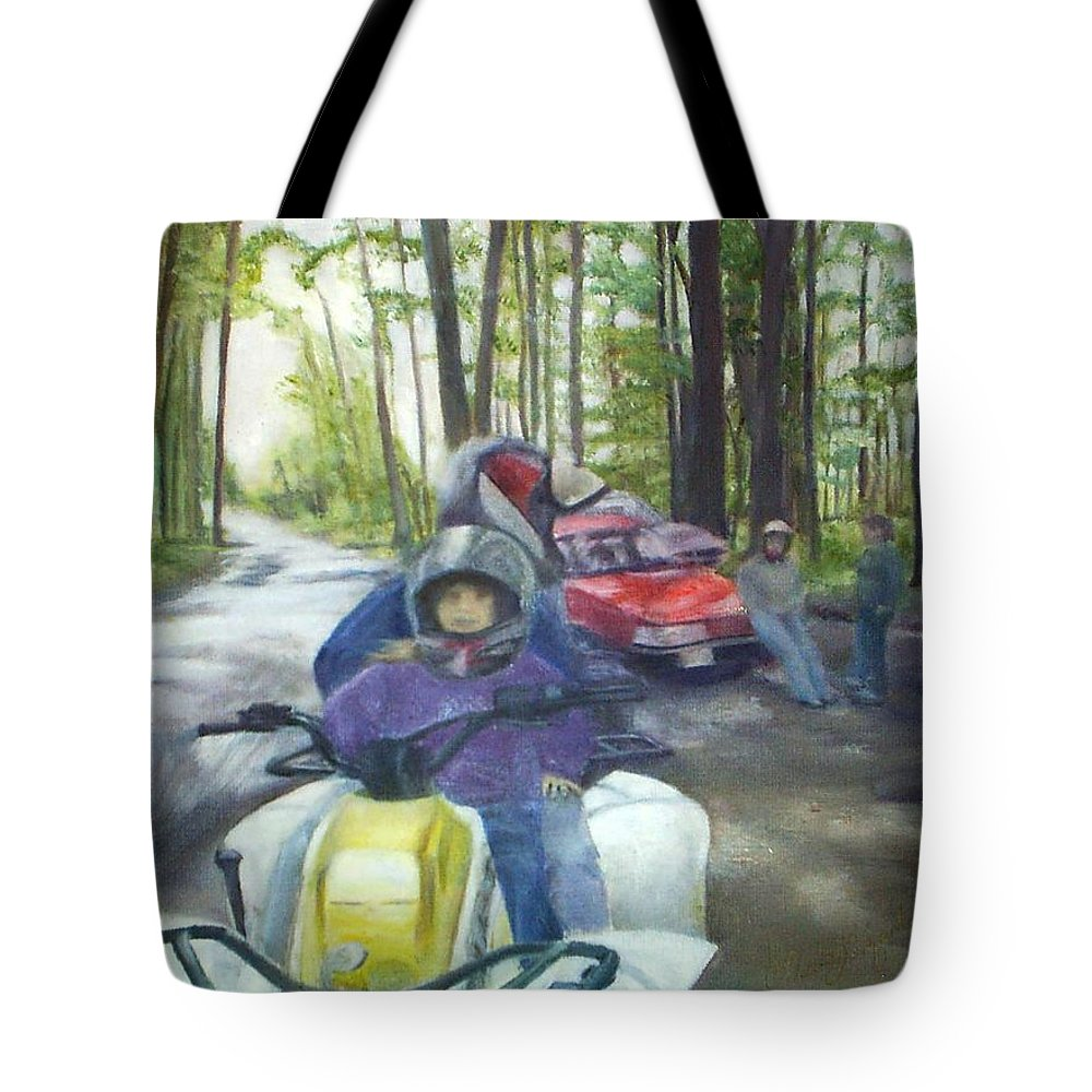 Quad Tote Bag featuring the painting Be Right Back by Sheila Mashaw