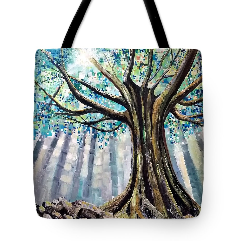 Acrylic Painting Tote Bag featuring the painting Be Still by Deda Happel