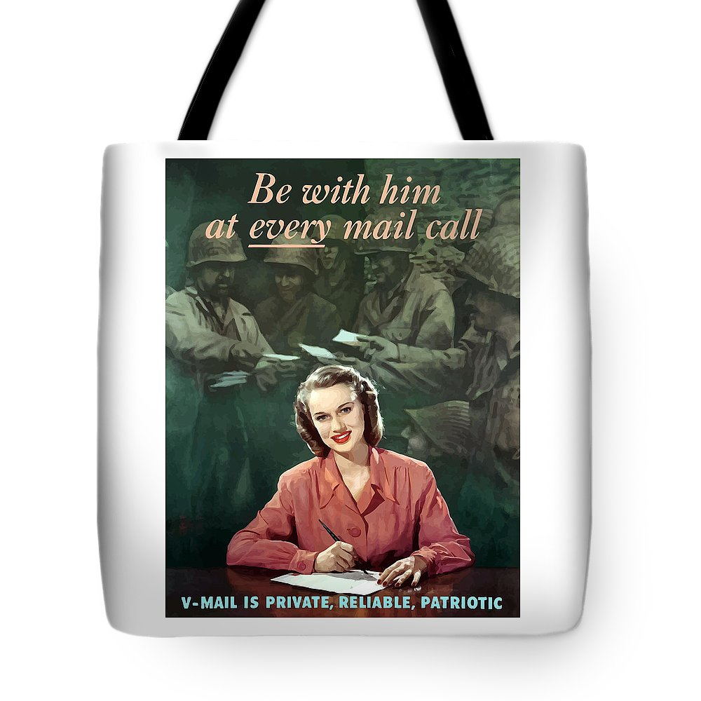 V Mail Tote Bag featuring the painting Be With Him At Every Mail Call by War Is Hell Store