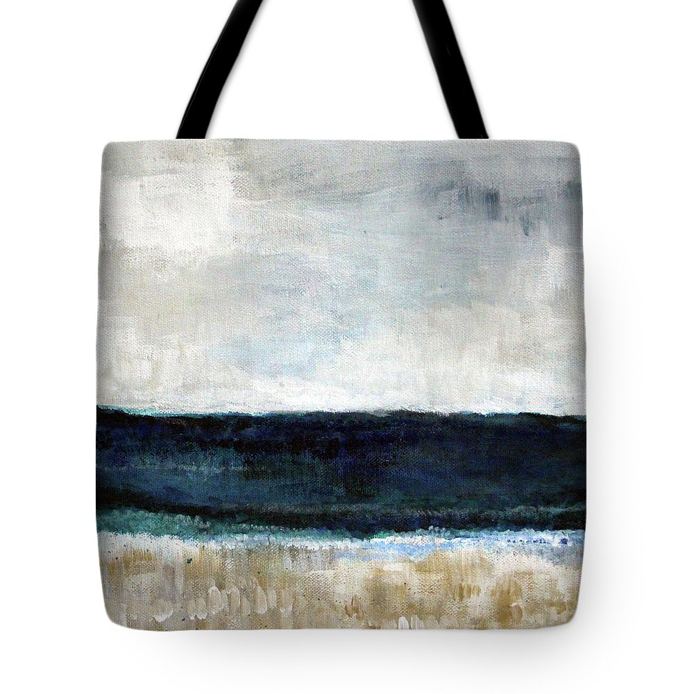 Beach Tote Bag featuring the painting Beach- abstract painting by Linda Woods