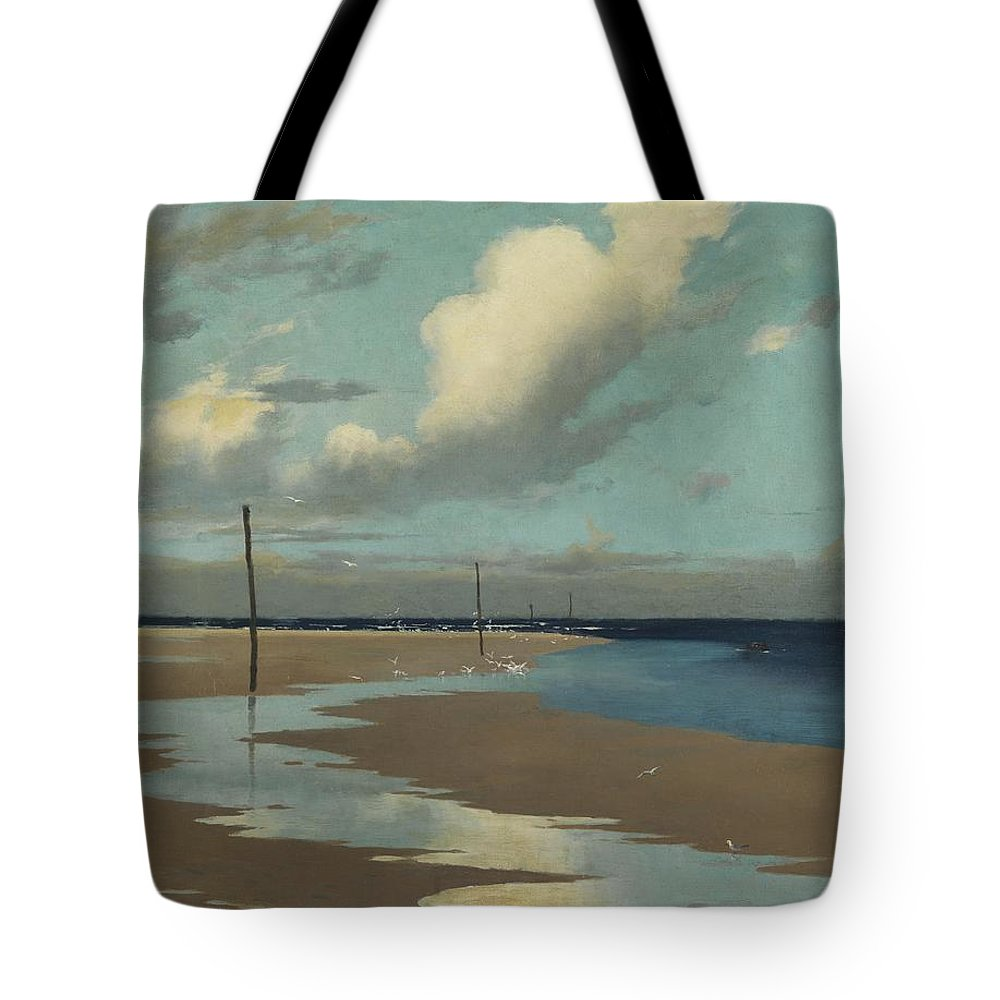 Beach Tote Bag featuring the painting Beach At Low Tide by Frederick Milner