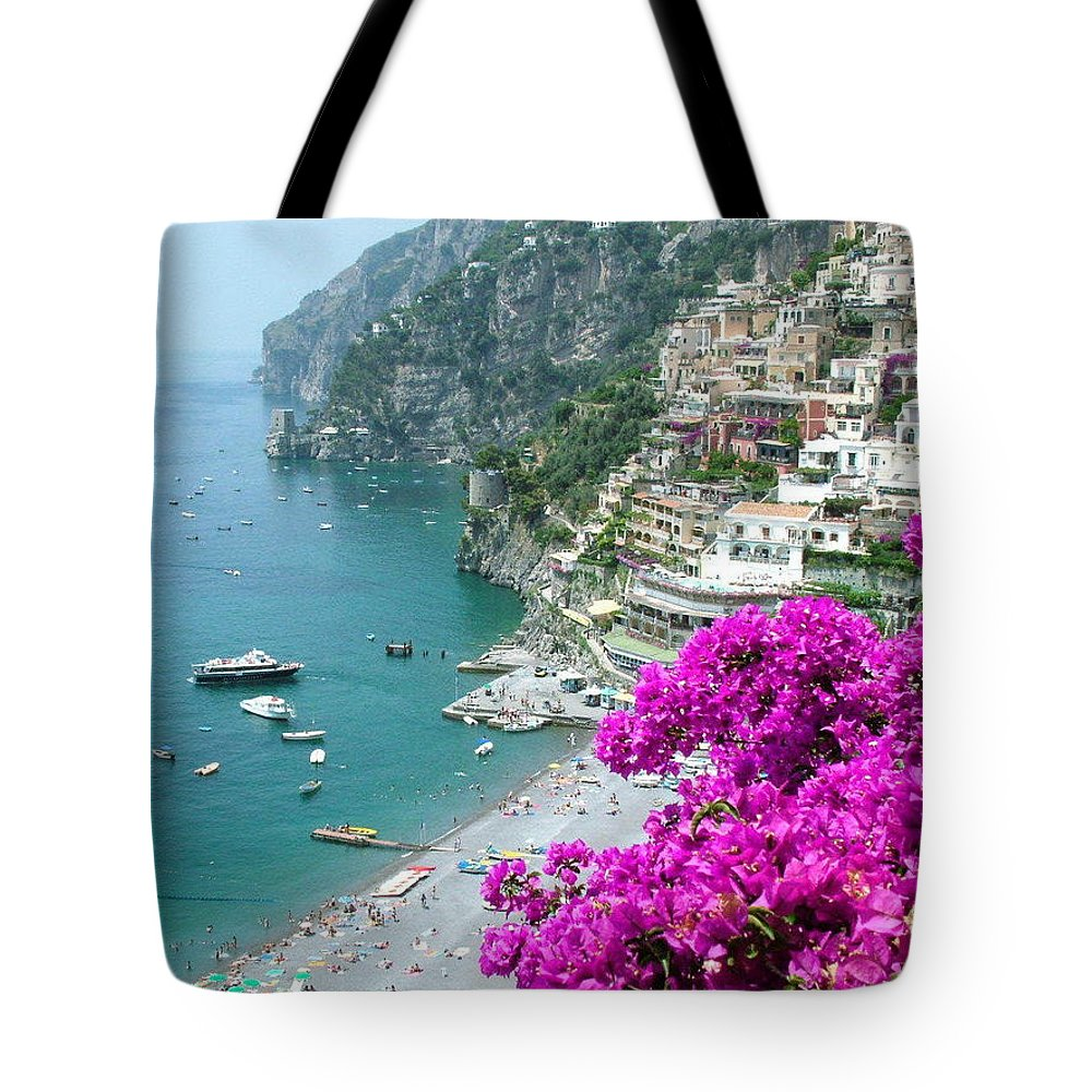 Positano Tote Bag featuring the photograph Beach At Positano by Donna Corless