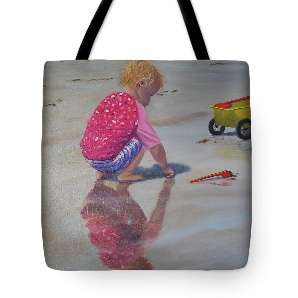 Baby Tote Bag featuring the painting Beach Baby by Lea Novak