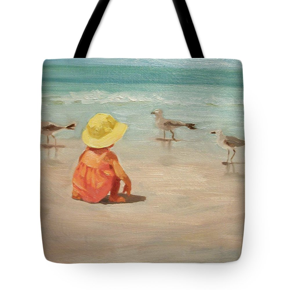 Beach Tote Bag featuring the painting Beach Baby by Margaret Aycock