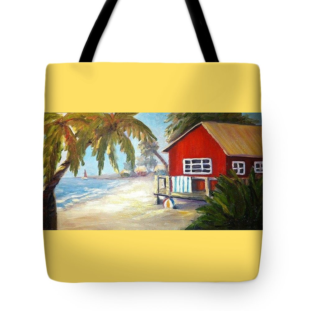 Beach.ball Tote Bag featuring the painting Beach Ball Resort by Wendy Shelley Studios