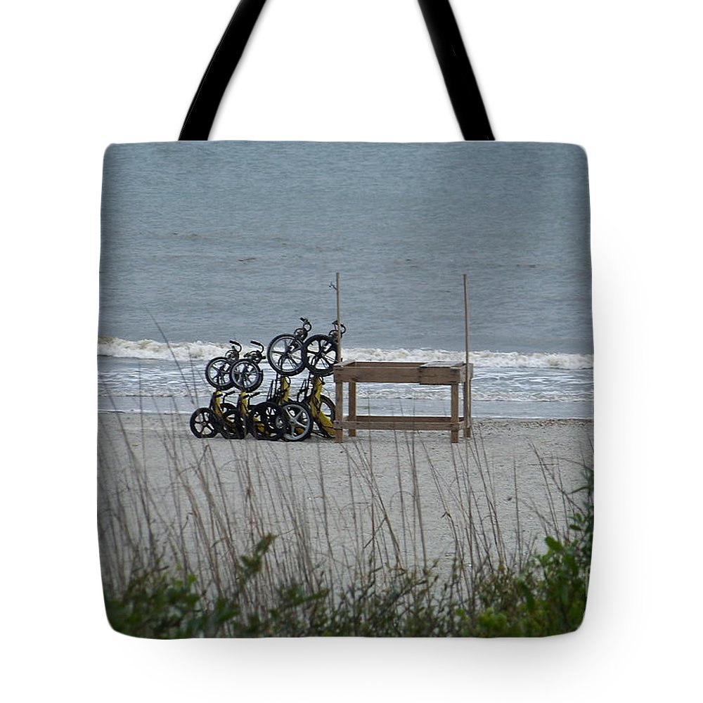 Bicycle Tote Bag featuring the photograph Beach Bicycles by Carol Bradley