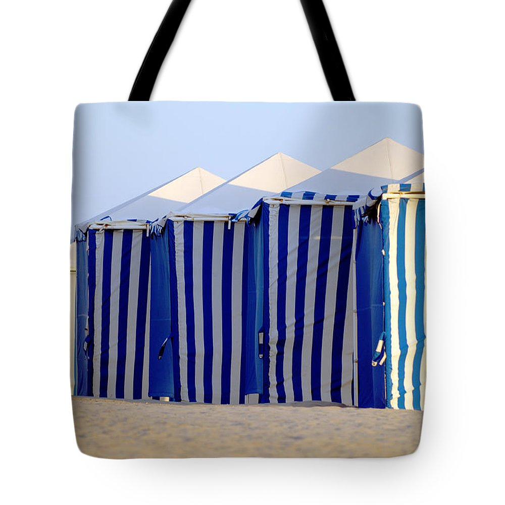 Beach Ocean Vacation Cabans Blue Tents Tote Bag featuring the photograph Beach Cabanas by Jill Reger