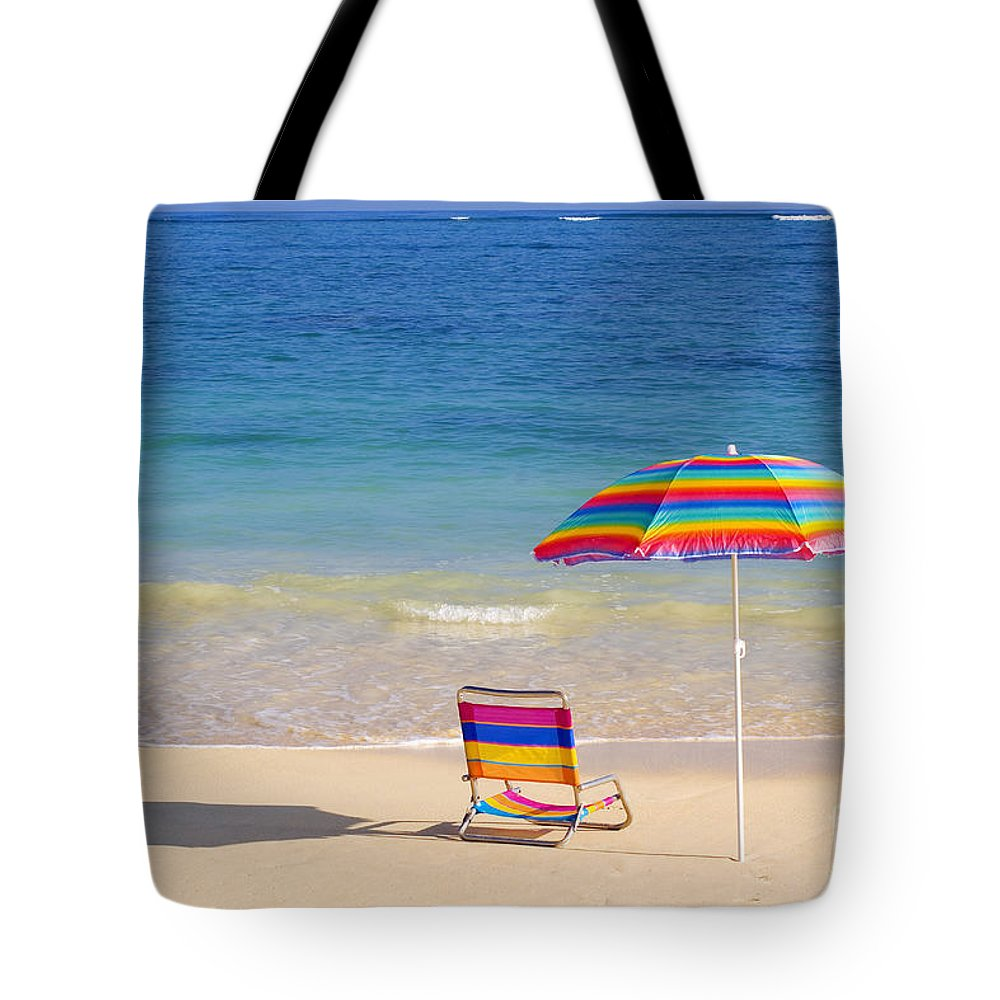 Afternoon Tote Bag featuring the photograph Beach Chair by Tomas del Amo - Printscapes