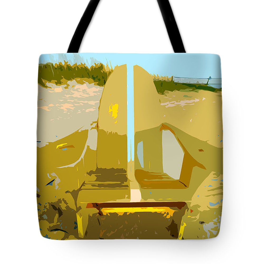 Beach Chair Tote Bag featuring the painting Beach Chair Work Number 3 by David Lee Thompson