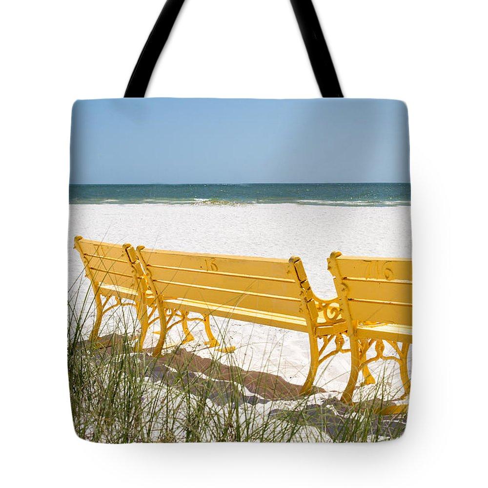 Beach Chair Tote Bag featuring the photograph Beach Chairs By Darrell Hutto by J Darrell Hutto