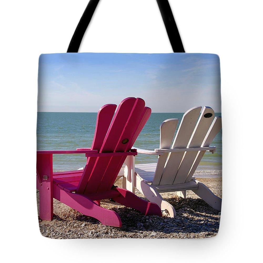 Beach Chairs Tote Bag featuring the photograph Beach Chairs by David Lee Thompson