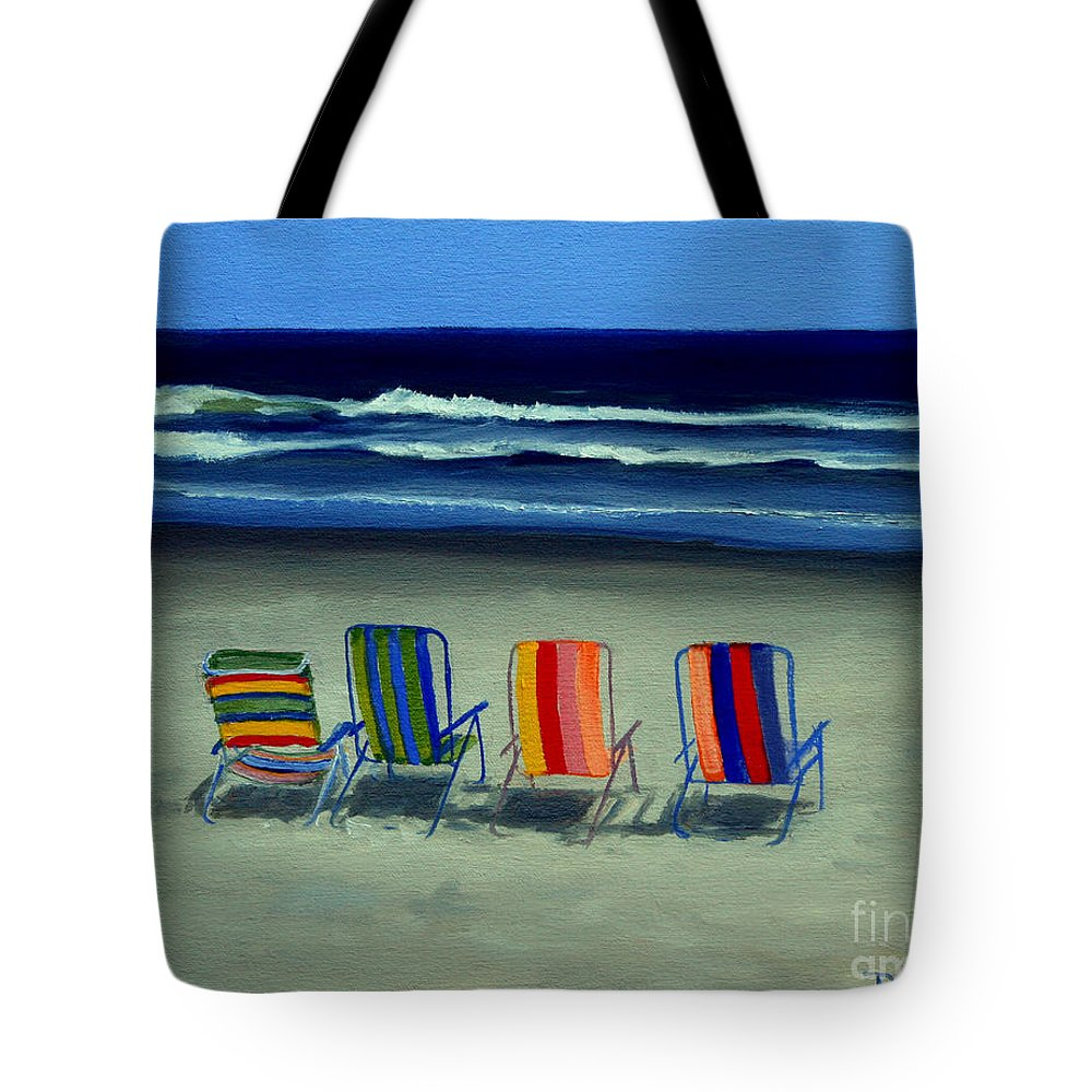 Beach Tote Bag featuring the painting Beach Chairs by Paul Walsh