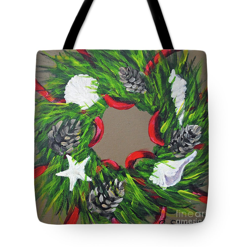 Christmas Tote Bag featuring the painting Beach Christmas Wreath by Carolyn Shireman