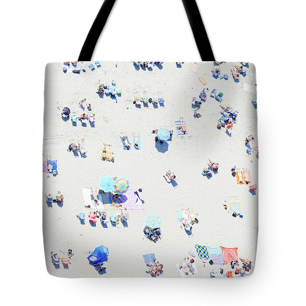 Aerial Tote Bag featuring the photograph Beach Confetti by Katherine Gendreau